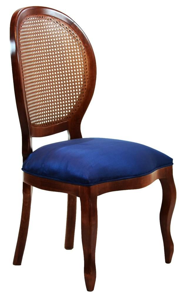 Cadeira Medalhão III Lisa com Encosto em Tela - Imbuia e Suede Azul