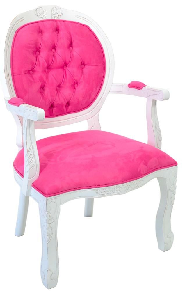 Cadeira Medalhão II Entalhada - Provençal Branco e Rosa
