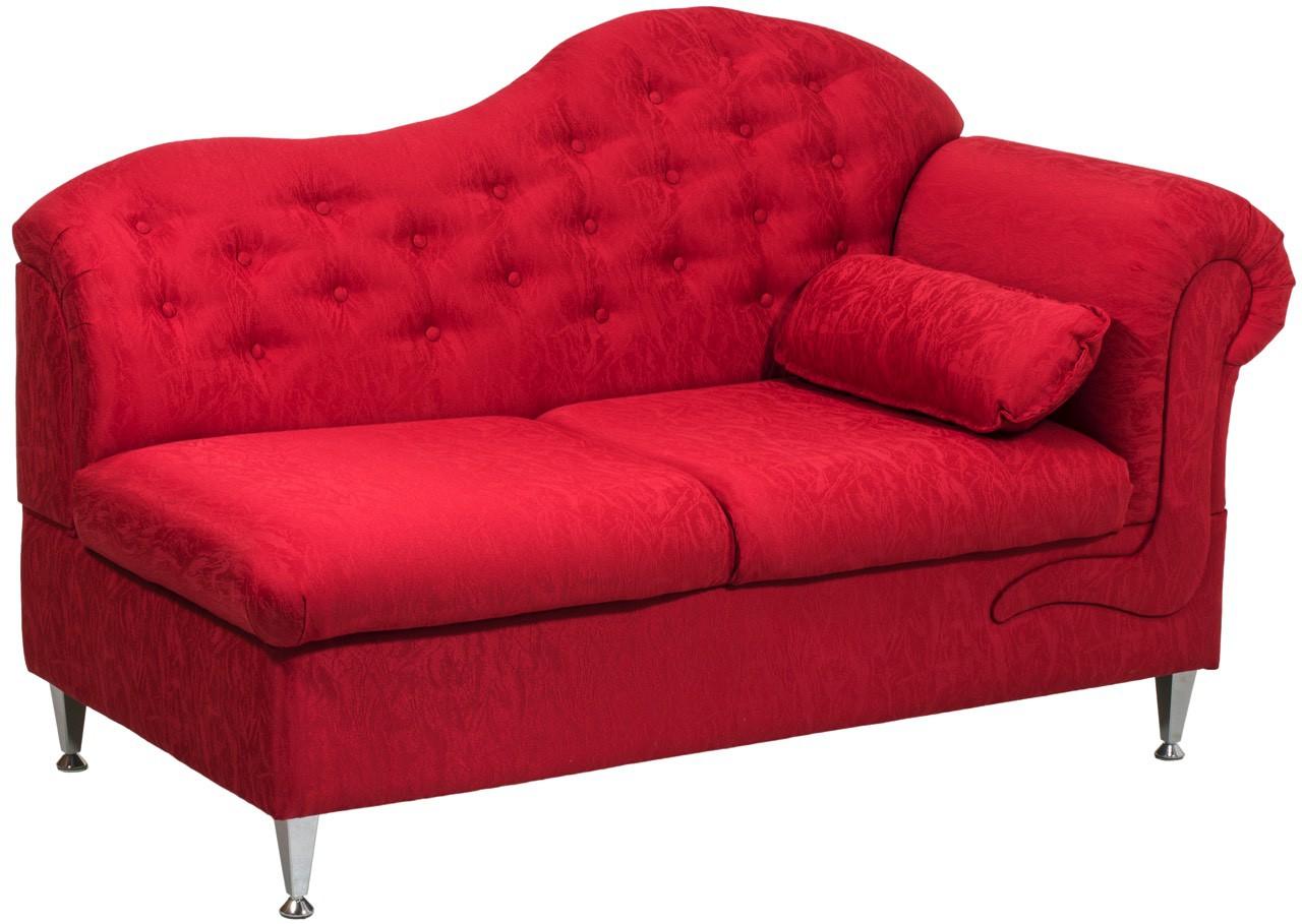 Chaise Longue Estofada 2 Lugares - Vermelho Texturizado
