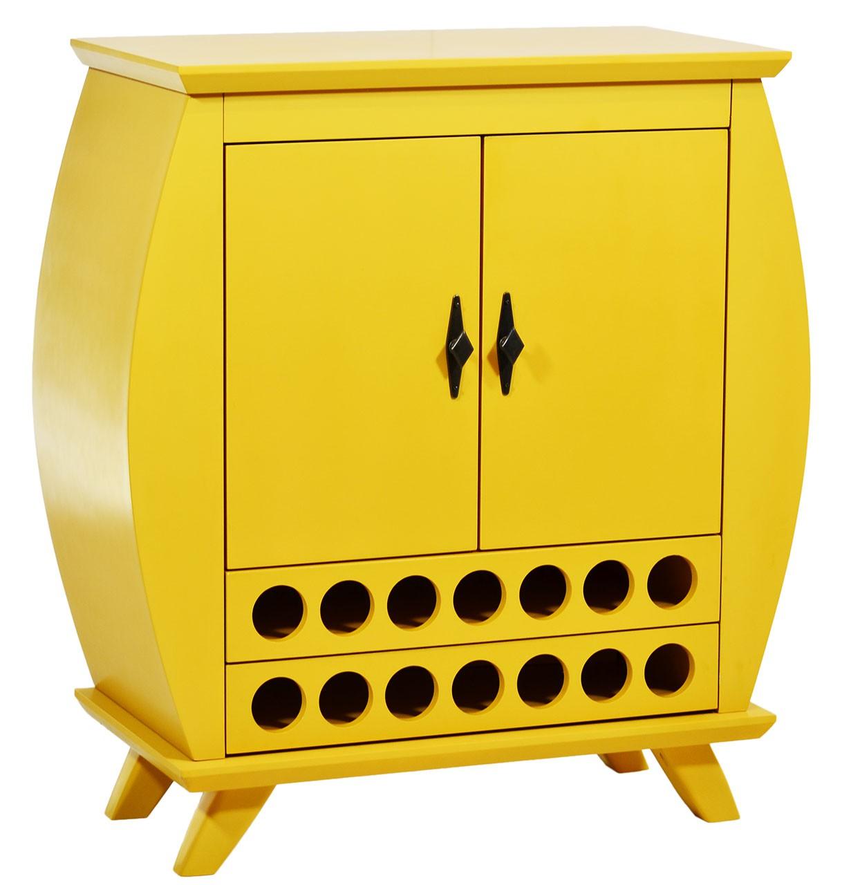 Cômoda 2 Portas e Adega - Amarela + Opções de Cores
