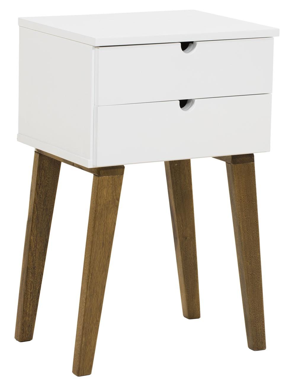 Criado Mudo Escandinavo 2 Gavetas Branco com Imbuia + Cores