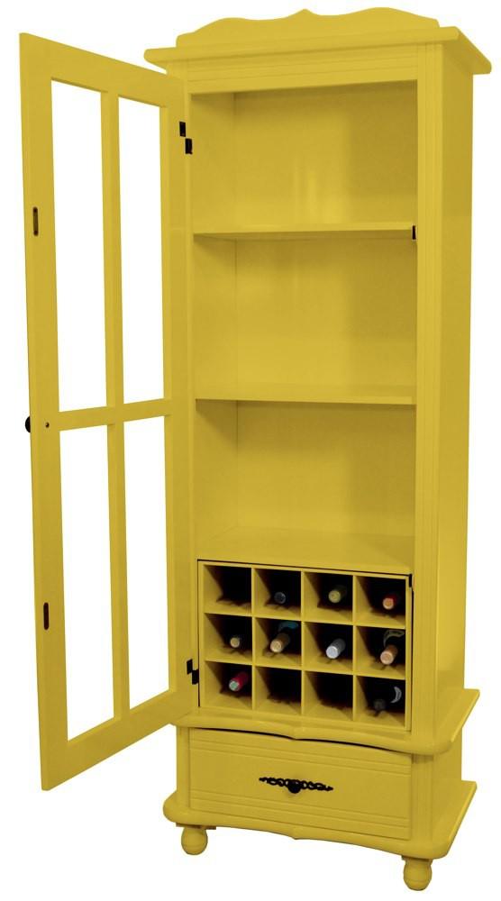 Cristaleira Colorida 1 Porta e 1 Gaveta Amarela + Adega + 10 Opções de Cores