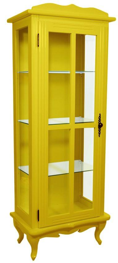 Cristaleira Colorida 1 Porta com Aberturas Laterais - Amarela