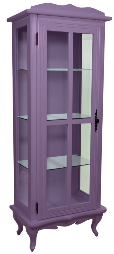 Cristaleira Colorida 1 Porta com Aberturas Laterais - Lilás