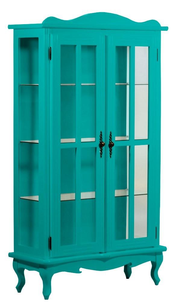 Cristaleira Colorida 2 Portas e Aberturas Laterais - Verde Piscina