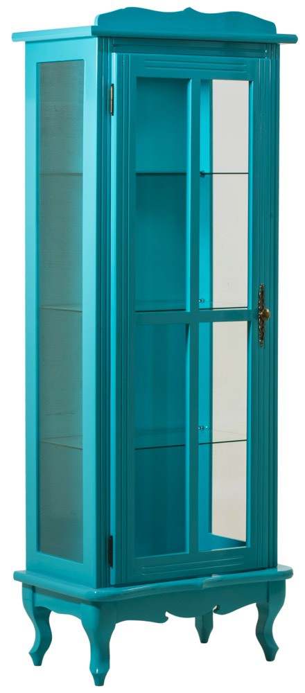 Cristaleira Colorida 1 Porta com Aberturas Laterais - Azul Turquesa