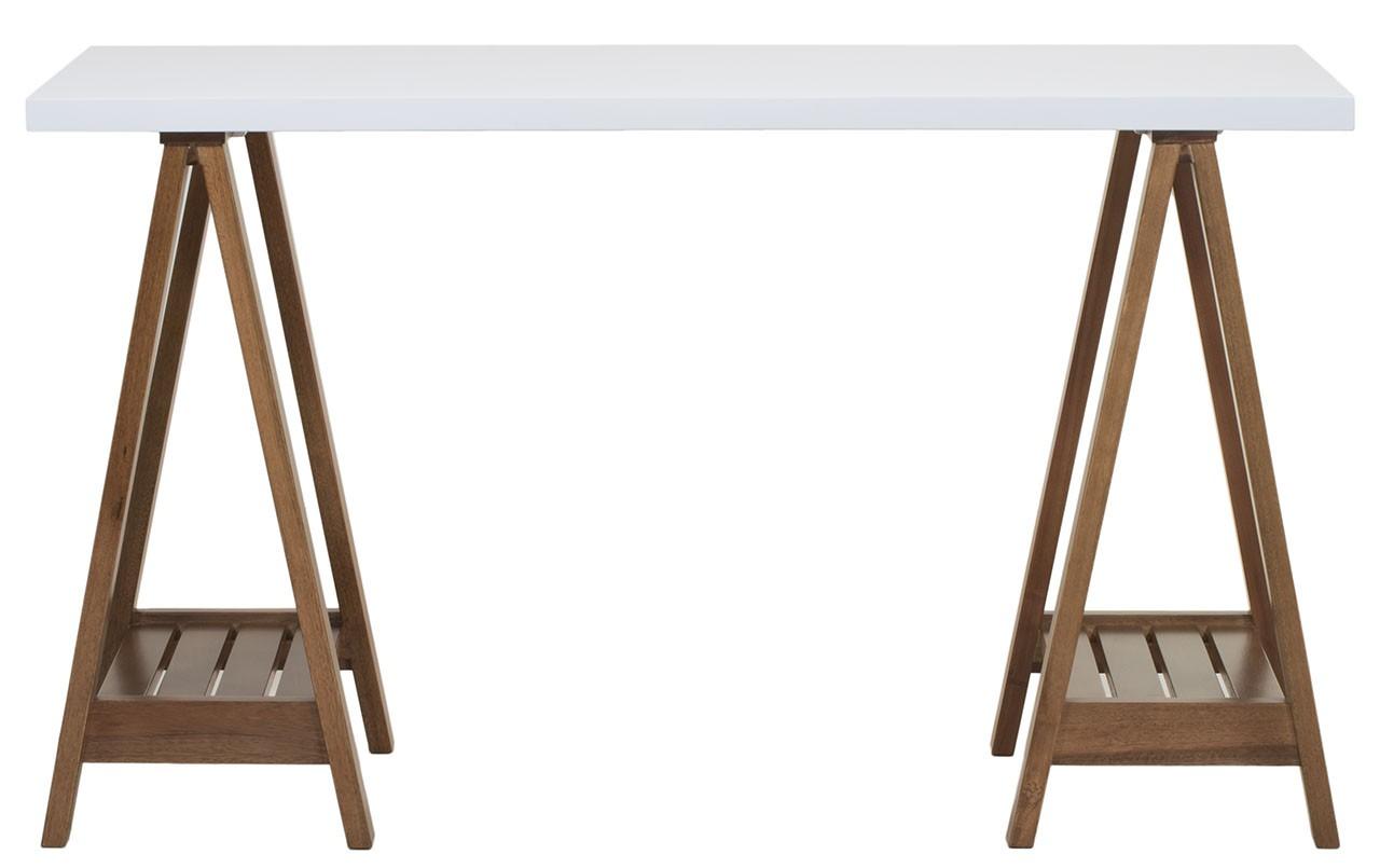 Escrivaninha Cavalete Branca e Imbuia + Cores