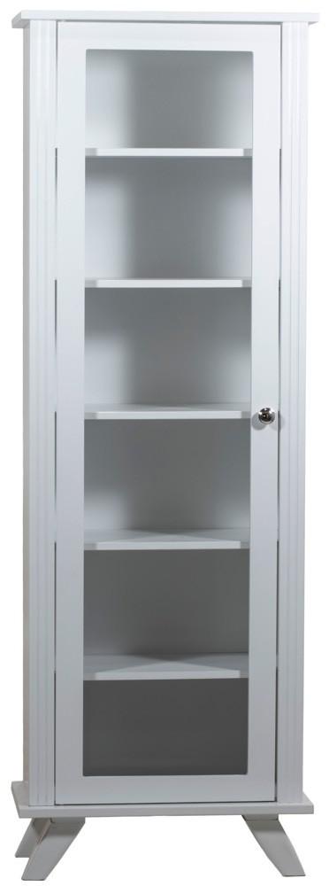 Estante 5 Prateleiras com Porta e Vidro Branca + Cores