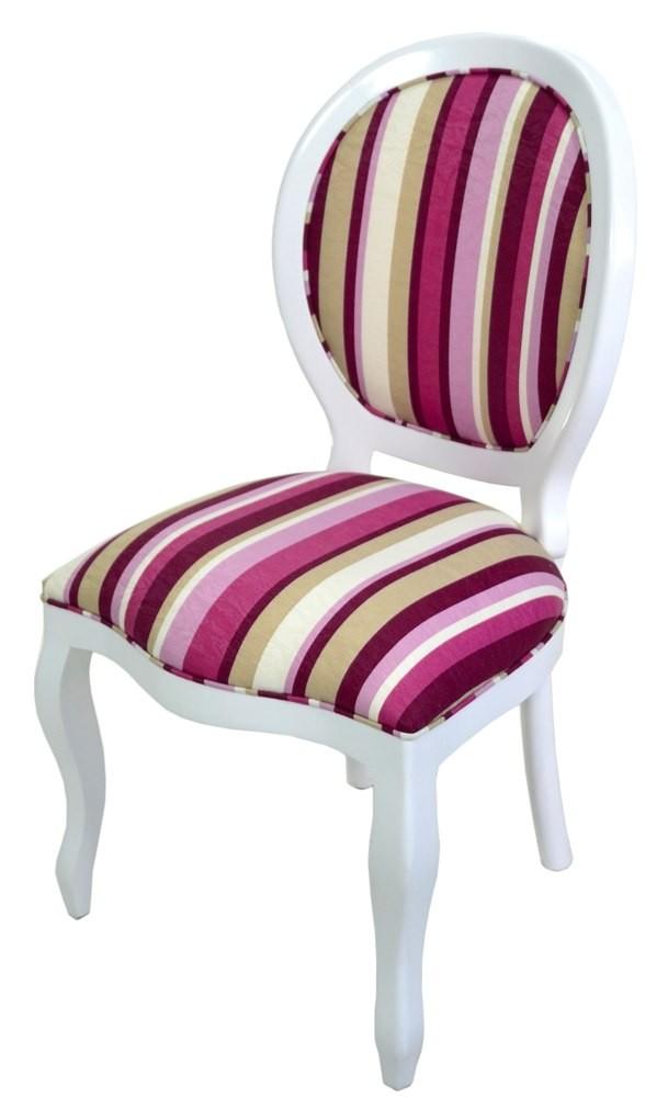 Cadeira Medalhão III Lisa - Branco com Listrado Lilás