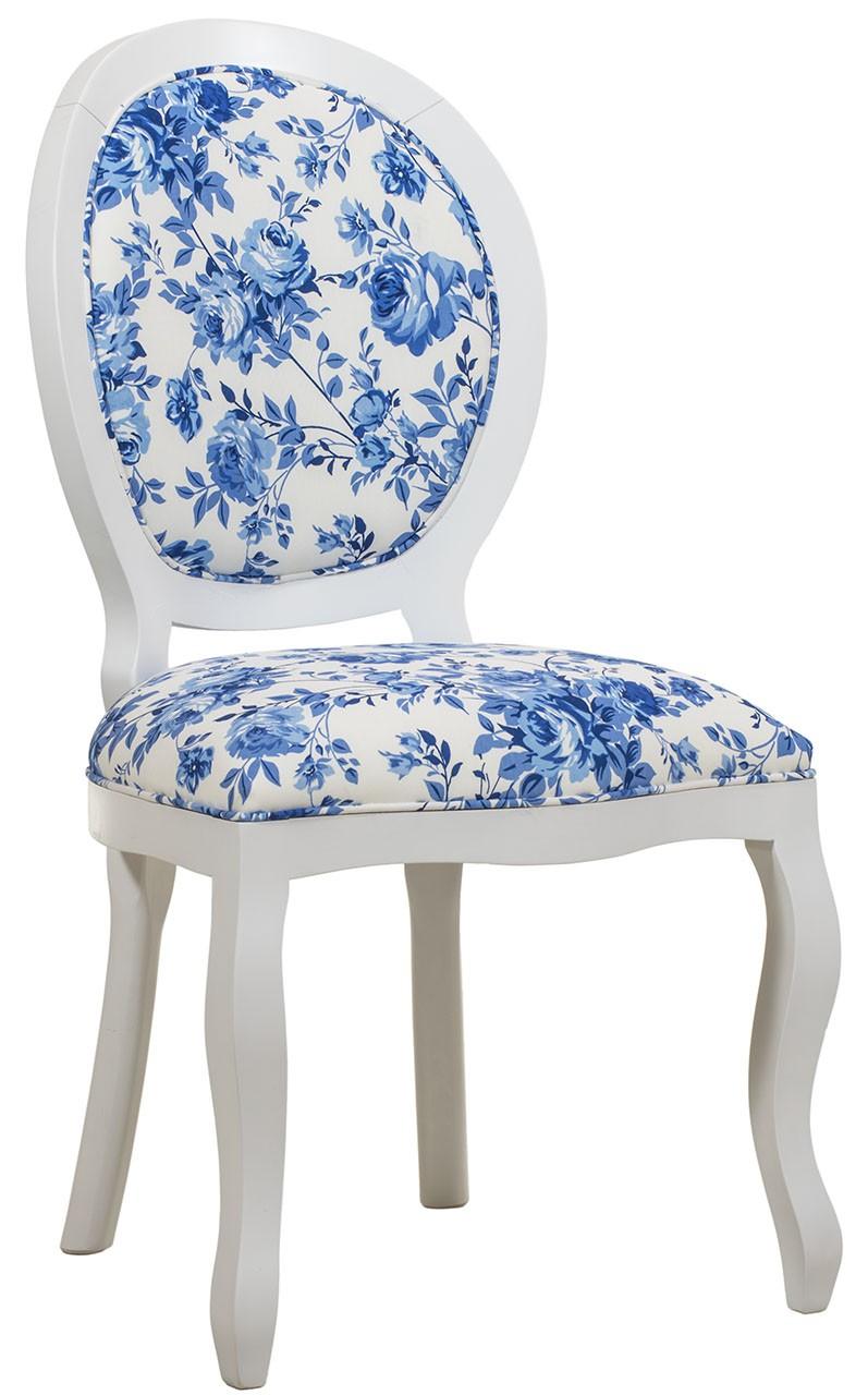 Cadeira Medalhão III Lisa com Capitonê - Branca e Floral Azul + Cores