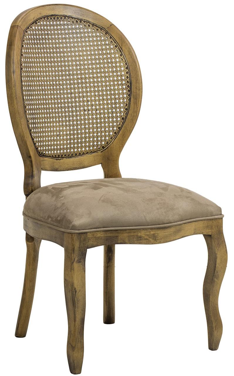 Cadeira Medalhão III Lisa com Encosto em Tela - Envelhecido com Suede Marrom