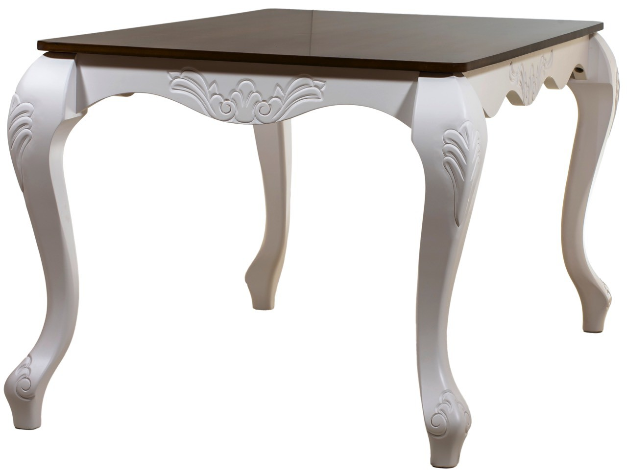Mesa de Jantar Entalhada Imperatriz 8 Lugares Branca com Tampo Verniz + Cores