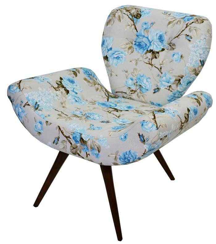 Poltrona Pé Palito - Floral Azul
