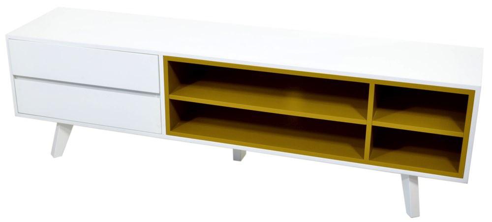 Rack Colors 2 Gavetas - Branco e Amarelo