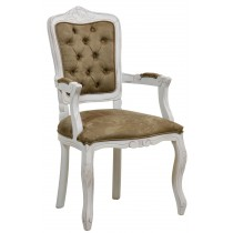 Cadeira Luis XV II Entalhada com Braço - Provençal Branca com Verde
