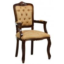 Cadeira Luis XV II Entalhada com Braço - Capuccino e Marrom Claro