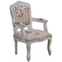 Cadeira Luis XV Infantil Provençal Branca e Ramo Rosa Centralizado + Cores
