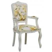 Cadeira Luis XV II Entalhada com Braço - Provençal Branca com Floral Amarelo