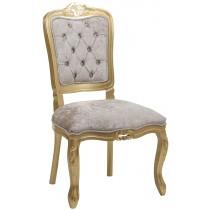 Cadeira Luis XV II Entalhada sem Braço - Dourado com Cinza Esverdeado