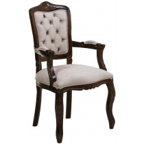 Cadeira Luis XV II Entalhada com Braço - Capuccino e Creme Claro Texturizado