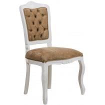 Cadeira Luis XV II Entalhada sem Braço - Branca com Veludo Amassado Marrom