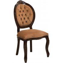 Cadeira Medalhão IV Entalhada - Capuccino e Aveludado Marrom Chocolate