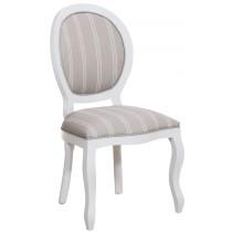 Cadeira Medalhão III Lisa - Branca com Listrado Cinza e Branco