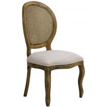 Cadeira Medalhão III Lisa com Encosto em Tela - Envelhecido com Suede Branco