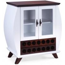 Cômoda 2 Portas com Vidro e Adega - Branca e Verniz + Opções de Cores