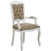 Cadeira Luis XV II Entalhada com Braço - Branca com Veludo Amassado Marrom