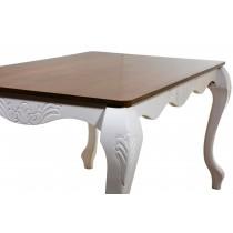 Mesa de Jantar Entalhada Imperatriz 10 Lugares Branca com Tampo Verniz Imbuia + Cores