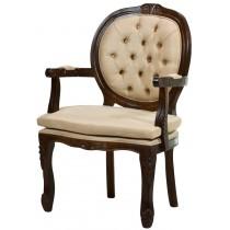 Cadeira Medalhão II Entalhada com Almofada Solta - Capuccino e Marrom Claro