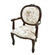 Cadeira Medalhão II Entalhada - Capuccino e Florido Marrom Claro