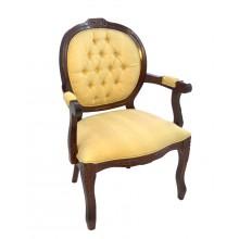 Cadeira Medalhão II Entalhada - Marrom Capuccino e Aveludado Creme