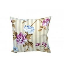 Almofada Listrada + Floral Lilás e Azul - 3 Opções de Tamanho