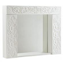 Armário Supenso Entalhado 2 Portas com Espelho Branco + Cores