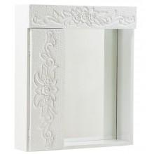 Armário Supenso Entalhado 1 Porta com Espelho Branco + Cores
