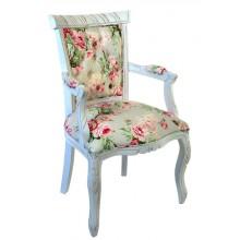 Cadeira Luis XV Entalhada com Braço - Provençal Branca e Florido Rosa