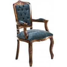 Cadeira Luis XV II Entalhada com Braço - Capuccino e Azul