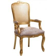 Cadeira Luis XV II Entalhada com Braço e Encosto em Tela - Dourada + Cores