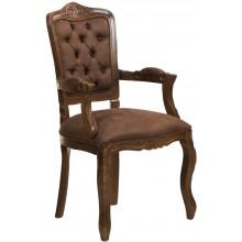 Cadeira Luis XV II Entalhada com Braço - Capuccino e Marrom