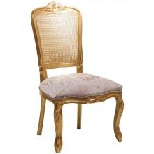 Cadeira Luis XV II Entalhada sem Braço e Encosto em Tela - Dourada + Cores
