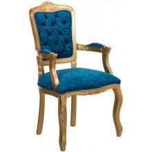 Cadeira Luis XV II Entalhada com Braço - Dourado e Azul