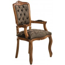 Cadeira Luis XV II Entalhada com Braço - Imbuia e Marrom Esverdeado