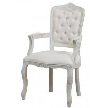 Cadeira Luis XV II Entalhada com Braço - Provençal Branca com Texturizado Branco