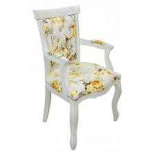 Cadeira Luis XV Entalhada com Braço Provençal Branca e Floral Amarelo