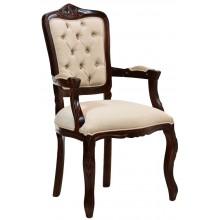 Cadeira Luis XV II Entalhada com Braço - Capuccino e Creme Claro
