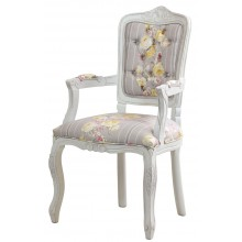 Cadeira Luis XV II Entalhada com Braço Provençal Branca - Rosas Amarelas + Cinza