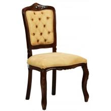 Cadeira Luis XV II Entalhada sem Braço - Capuccino e Creme Amarelado