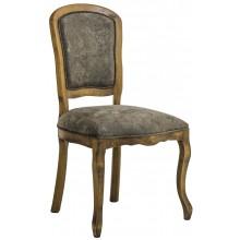 Cadeira Luis XV Lisa sem Braço - Envelhecido com Veludo Amassado Marrom